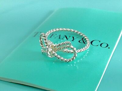 aebaf6bb7 RARE Tiffany & Co. Sterling Silver Twist Bow Ribbon Pinky Ring Size 4.5  190219A