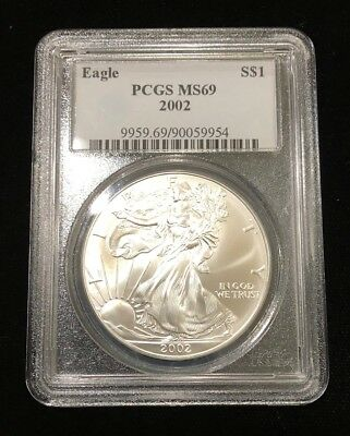 2002 Pcgs Certified Ms69 American Silver Eagle .999 Ase