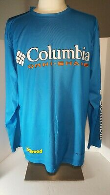 845d4e12415 Columbia Omni-Shade Shirt Jersey Highroad Turquoise XL Long Sleeve Polyester