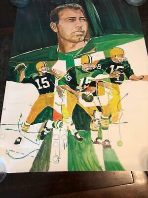 Bart Starr 1960s  watercolor litho Rare Poster Green Bay Packers NFL Football