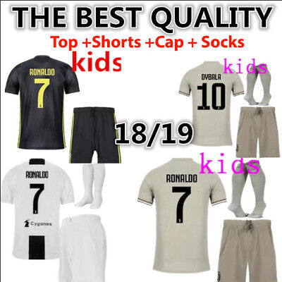 new product 6a66a f0bc5 2019 NEW KIDS Soccer Juventus Jersey White #7 Ronaldo Kit ...