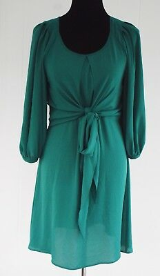 901d756e87e18 Anthropologie Maeve 3/4 Sleeve Tie Waist Above Knee Dress Green Sz 4