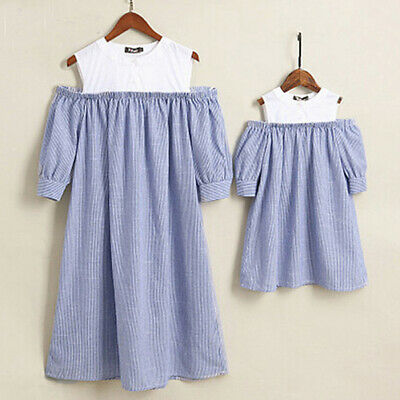 AU Hot Mother and Daughter Stripe Dress Matching Women Kids Girls Family Clothes