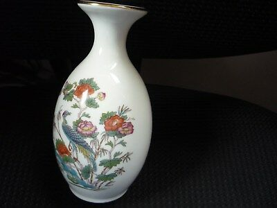 Wedgwood vase Kutai Crane print with gold rim in very good cond 13 cms tall