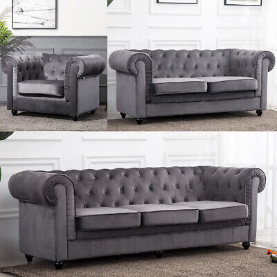 Admirable Modern Chesterfield Armchair Sofa Settee 1 2 3 Seater Grey Unemploymentrelief Wooden Chair Designs For Living Room Unemploymentrelieforg