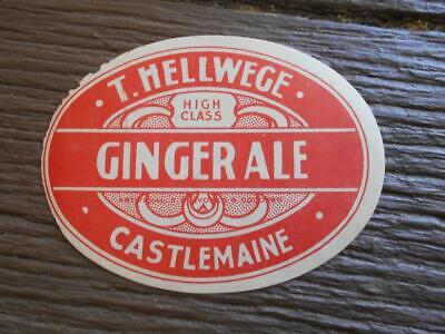 Vintage T.Hellwege Castlemaine ginger ale bottle label drink advertising Vic