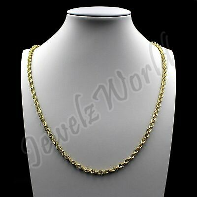 """REAL 10K Solid Yellow Gold Necklace Gold Rope Chain 16"""" 18"""" 20"""" 22"""" 24"""" 26"""" 30"""""""