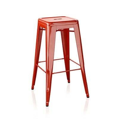 4 x Tolix stools in red RAL 3002 H 75cm Genuine Tolix. RRP - £880.00.