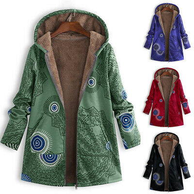 Women Plus Size Zip Hooded Floral Jacket Outerwear Parka Fur Plush Fleece Coat