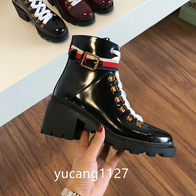8676176c9f Womens Leather Ankle Boot With Sylvie Web GG Logo Boots Black Leather
