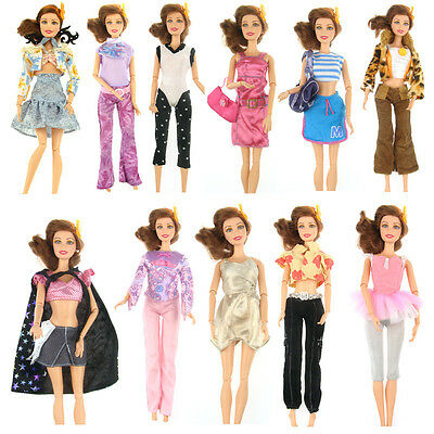 5 Pair Shoes + 5 Suits Outfit Lot Clothes Gift Dress Party For Barbie Doll r
