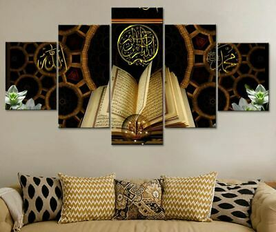 Islamic Qur'An Book 5 Pieces canvas Wall Art Print Picture Home Decor