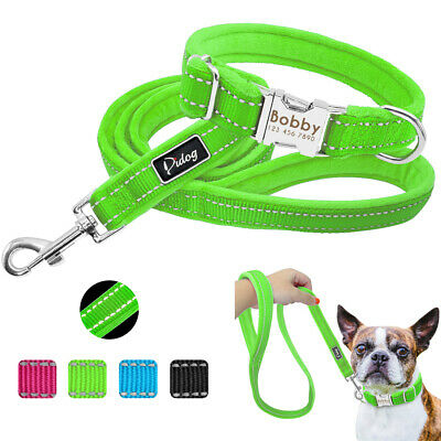 Nylon Reflective Puppy Small Dog Collar and Dog Leads Set Personalized ID Tag