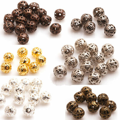 DIY 200X Silver/Gold/Copper/Metal Hollow Flower Ball Spacer Beads 4/6/8mm