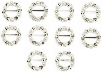 10 Round Pearl And Diamante Crystal Rhinestone Ribbon Slider Buckles 1.5Cm