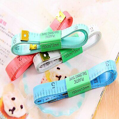 White Body Measuring Ruler Sewing Cloth Tailor Tape Measure Soft Flat 60In 1 Lcu
