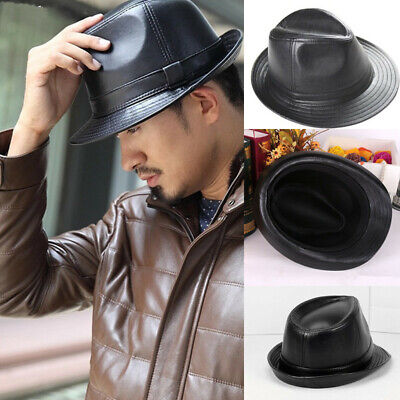 Vintage Mens Womens Real Leather Jazz Gentleman Classic Trilby Fedora Hats AU