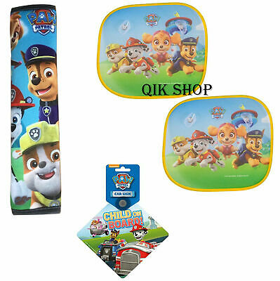 Paw Patrol Child on Board Car Sign+Sunshades Protection+Car Seat Belt Pads All 3