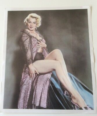 Marilyn Monroe art Sexy Negligee Hand Tinted Art Print by Pomegranate 1990 pinup