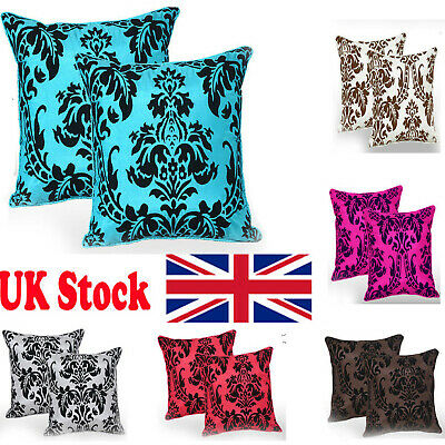 "Luxury English Damask Flock Cushion Covers 18""X18"""