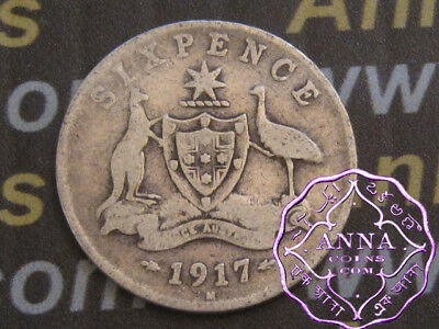 Australia 1917 George V Sixpence X1, Average Circulated Condition