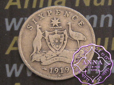 Australia 1919 George V Sixpence X1, Average Circulated Condition