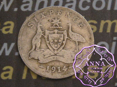 Australia 1914 George V Sixpence X1, Average Circulated Condition