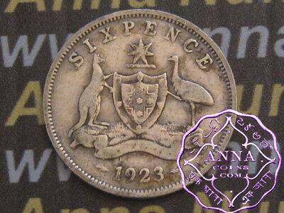 Australia 1923 George V Sixpence X1, Average Circulated Condition
