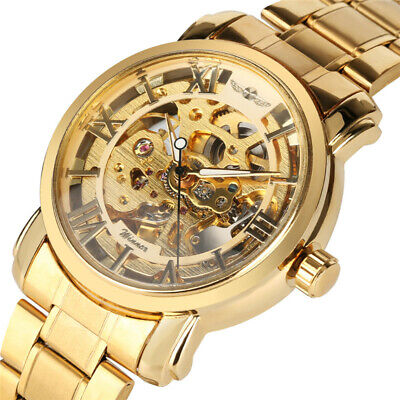 Men's Luxury Gold Tone Stainless Steel Skeleton Automatic Mechanical Wrist Watch