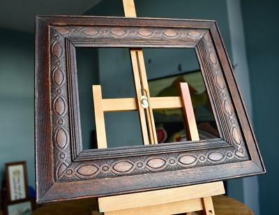 "SUPERB ANTIQUE EDWARDIAN CARVED OAK PICTURE FRAME 10"" x 8"" REBATE vARTS & CRAFTS"