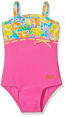 Zoggs Girl's Seaside Classic Back Swimsuit . Pink with Multicoloured Flowers