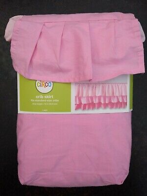 "CIRCO CRIB SKIRT TRIPLE TIER RUFFLE PINK (28"" X 52"")  New in Package"
