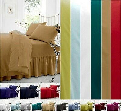 Plain Dyed Percale Polycotton Flat Bed Sheet  / Pillowcases Single Double King