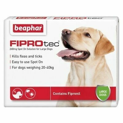Beaphar FIPROTEC Flea Spot On Treatment For Large Dogs 1,4,6 Pipettes