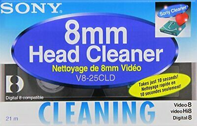 Sony Head Cleaning Cassette For Hi8/ Digital 8/ 8 mm Video V825CLD New