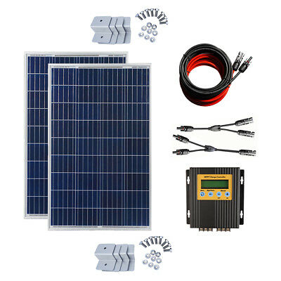 200W SOLAR PANEL HOME CAMPING KIT & MPPT CONTROLELR efficiency by 40% 560WH/DAY