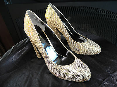 2d550689a818 Womens NEW Size 8.5 M   NINE WEST   Shiny Gold Sequin Platform Heels Shoes