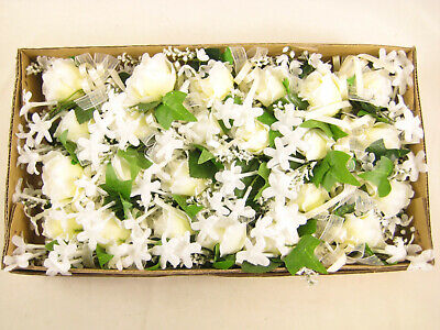 24x Wholesale Artificial Silk Rose Stephanotis Lily of Valley Buttonhole Corsage