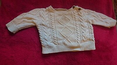 2481641a9213 BABY GAP BOY Ivory Cream Thick Chunky Cable Knit Sweater V Neck 18 ...