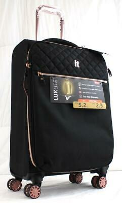 """It Luggage Luxlite Classique 20"""" Lightweight Spinner Carry On Suitcase Black"""