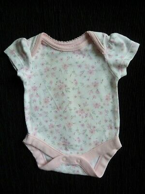 Baby clothes GIRL newborn 0-1m<9lb/4.1kg white/pink floral bodysuit/top SEE SHOP