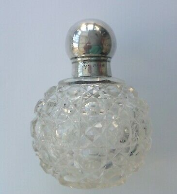 Antique Edwardian  Sterling silver topped hobnail scent bottle