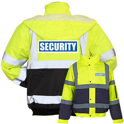 Yellow Navy Reflective Security Hi Vis Bomber Jacket Printed Work Coat High Viz
