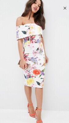 3add59f1fc40 ASOS WEDDING BARDOT Floral Off Shoulder Pencil Dress UK10 EU38 ...