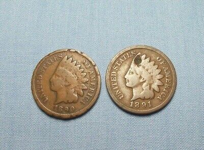 Lot of 2 United States Indian Head Cents 1890 and 1891 Bronze Composition