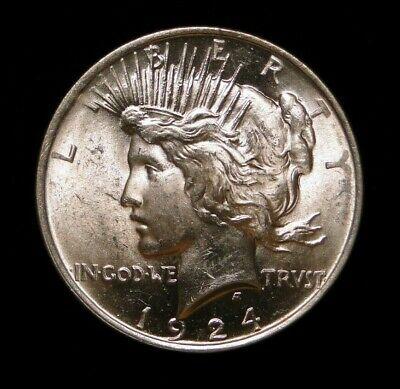 Blast White Unc 1924 Peace Silver Dollar Old U.s. Type Coin