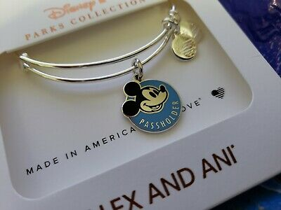 Disney Parks Alex and Ani Mickey Annual Passholder Silver Bracelet NEW WDW &