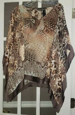 45c4caca044 Travelers Collection By Chicos Women's Batwing Tunic Top Animal Print Size L /XL