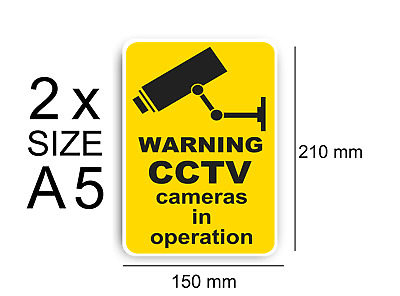 2x CCTV Cameras in Operation Sign Vinyl Stickers, Security, Camera,Warning Decal
