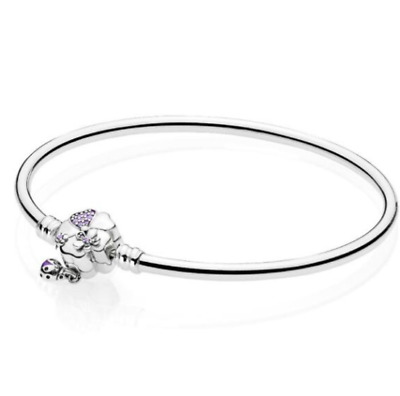 BRACELET 925 Sterling Silver Wildflower Meadow Floral Clasp Smooth Bangle